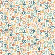 Jungle Friends - 7046 - Pastel Numbers on Cream Background  - 2202_P - Cotton Fabric